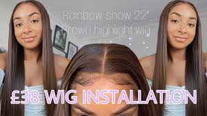 £38 BROWN HIGHLIGHTS LACE FRONT WIG INSTALLATION | Rainbow Snow Amazon Synthetic Wigs UK- Beauty Video Of The Week